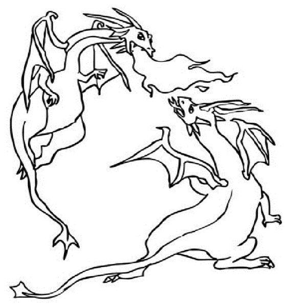 Tranh vẽ chưa tô màu con rồng cho bé tập tô (2)