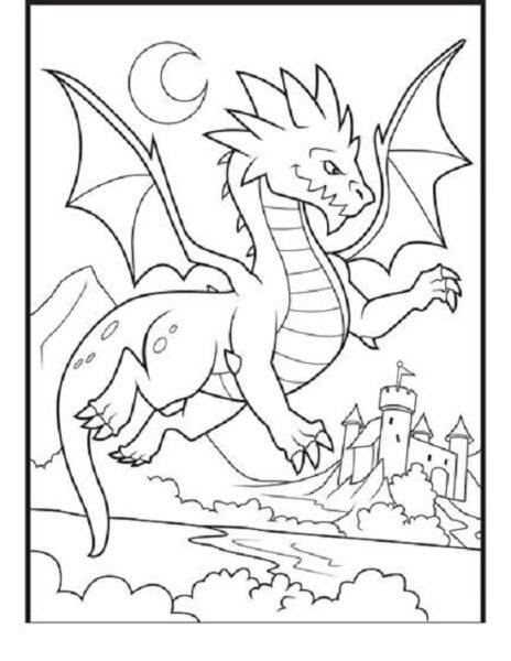 Tranh vẽ chưa tô màu con rồng cho bé tập tô (3)