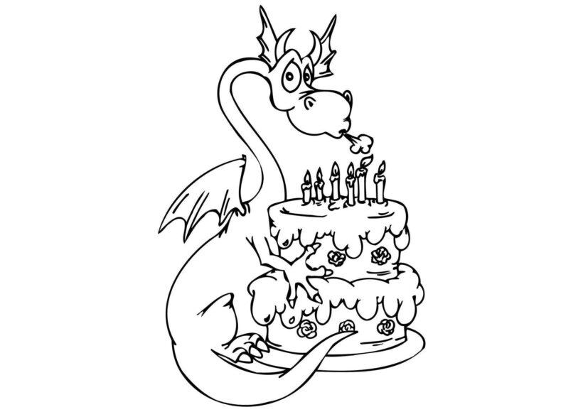Tranh vẽ chưa tô màu con rồng cho bé tập tô (8)