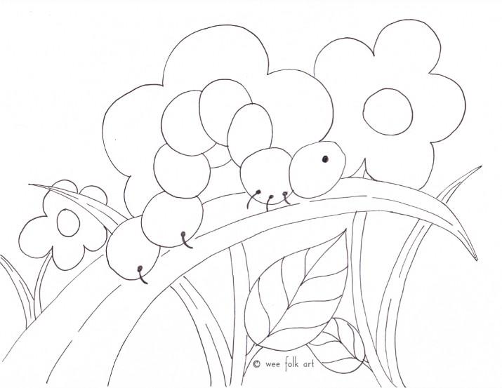 Tranh vẽ chưa tô màu con sâu ngộ nghĩnh cho bé tập tô (3)