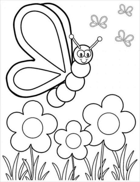 Tranh vẽ chưa tô màu con sâu ngộ nghĩnh cho bé tập tô (4)