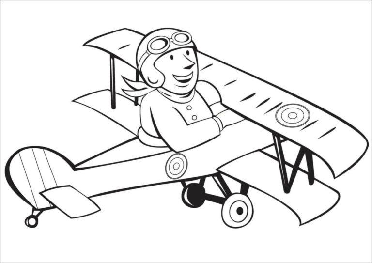 Tranh vẽ chưa tô màu máy bay cho bé tập tô (2)