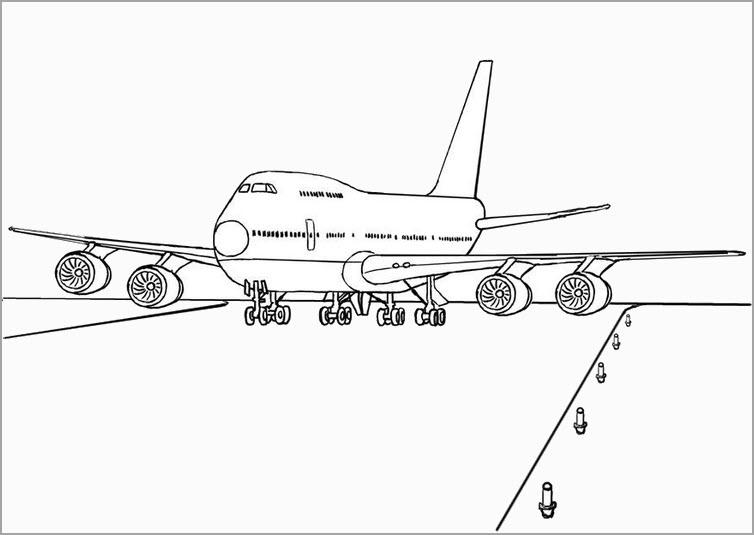Tranh vẽ chưa tô màu máy bay cho bé tập tô (3)