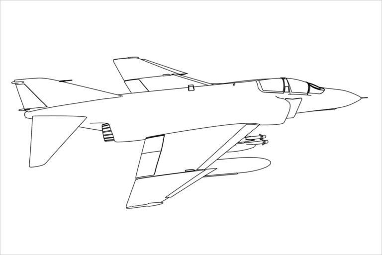 Tranh vẽ chưa tô màu máy bay cho bé tập tô (8)