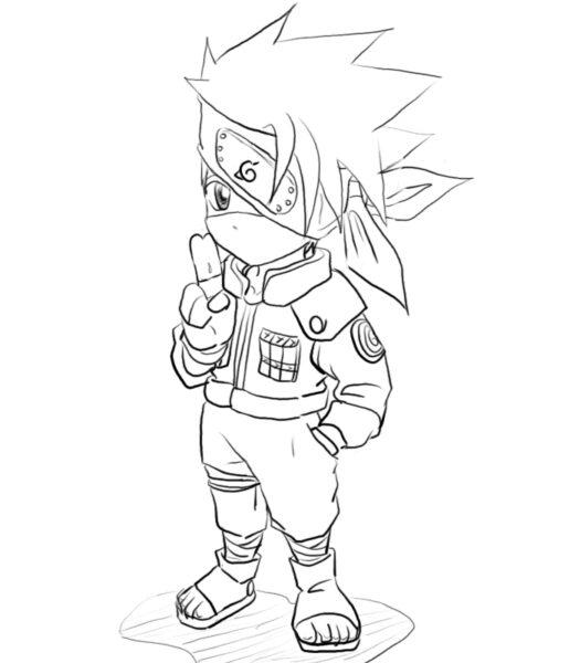 Tranh vẽ chưa tô màu Naruto cực chất cho bé tập tô (9)