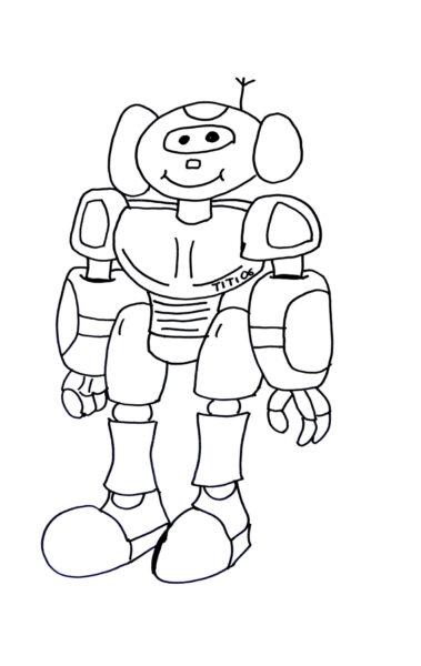 Tranh vẽ chưa tô màu robot cho bé tập tô (1)
