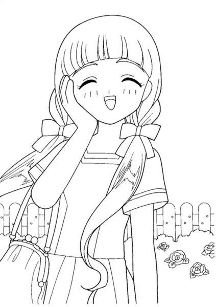 Tranh vẽ chưa tô màu Sakura cute cho bé tập tô (2)