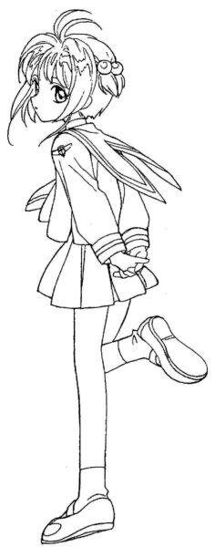 Tranh vẽ chưa tô màu Sakura cute cho bé tập tô (3)