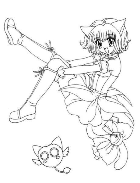Tranh vẽ chưa tô màu Sakura cute cho bé tập tô (5)
