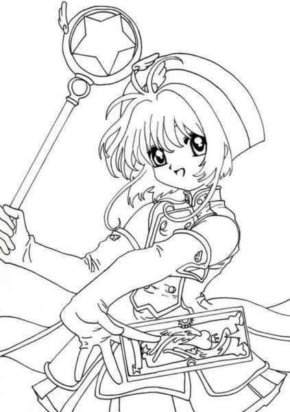 Tranh vẽ chưa tô màu Sakura cute cho bé tập tô (6)