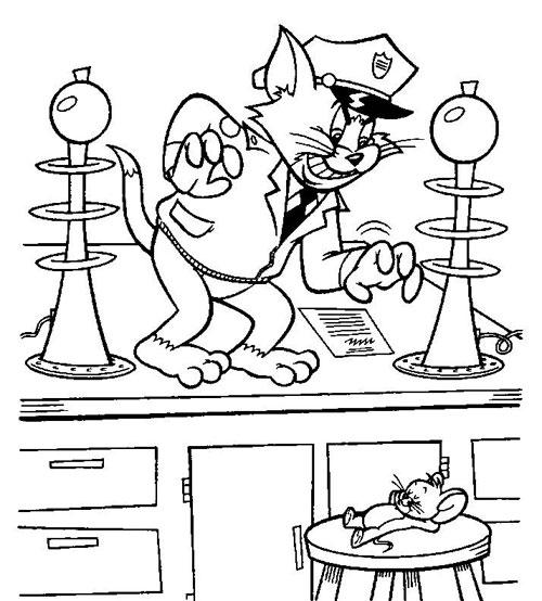 Tranh vẽ chưa tô màu Tom and Jerry dễ thương nhất cho bé tập tô (2)