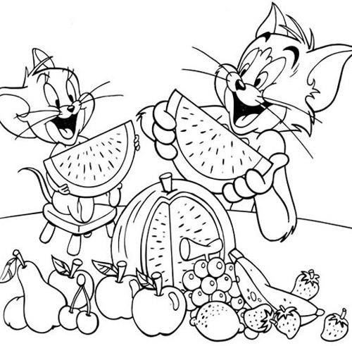 Tranh vẽ chưa tô màu Tom and Jerry dễ thương nhất cho bé tập tô (3)