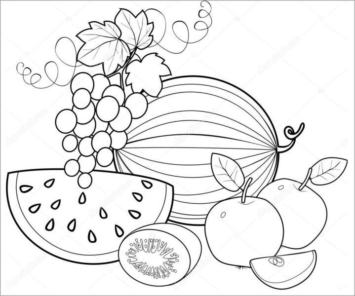 Tranh vẽ chưa tô màu trái cây đẹp cho bé tập tô (10)