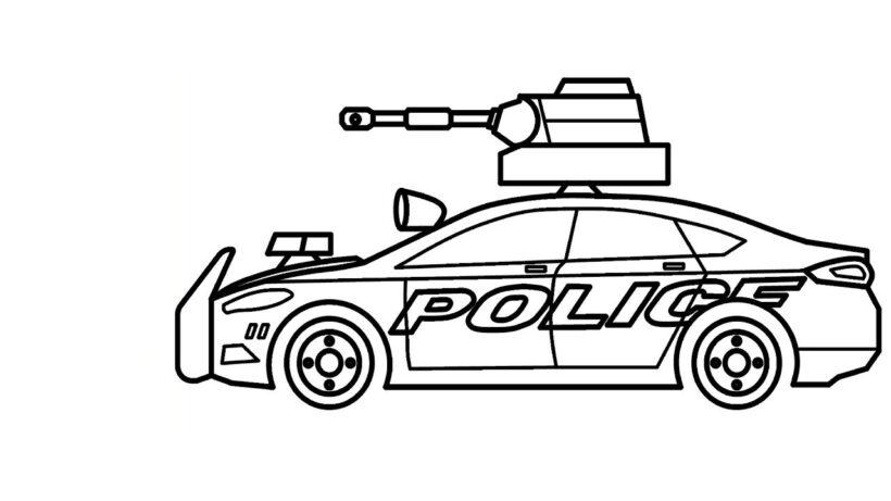 Tranh vẽ chưa tô màu xe cảnh sát cho bé tập tô (1)