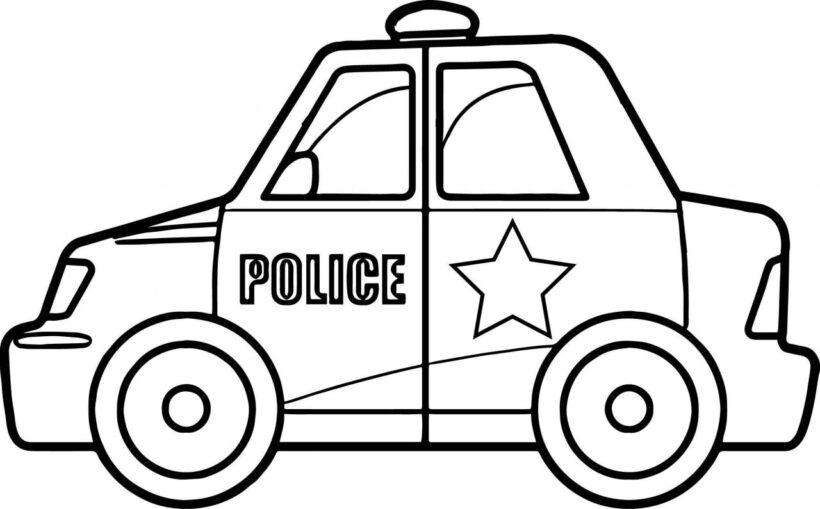 Tranh vẽ chưa tô màu xe cảnh sát cho bé tập tô (3)