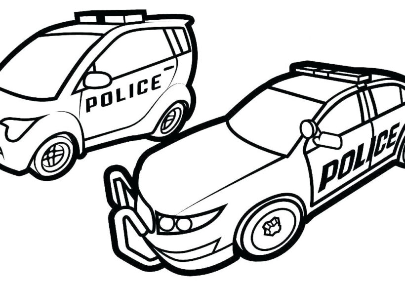Tranh vẽ chưa tô màu xe cảnh sát cho bé tập tô (5)