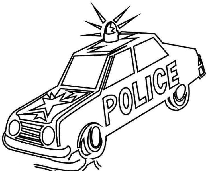 Tranh vẽ chưa tô màu xe cảnh sát cho bé tập tô (6)