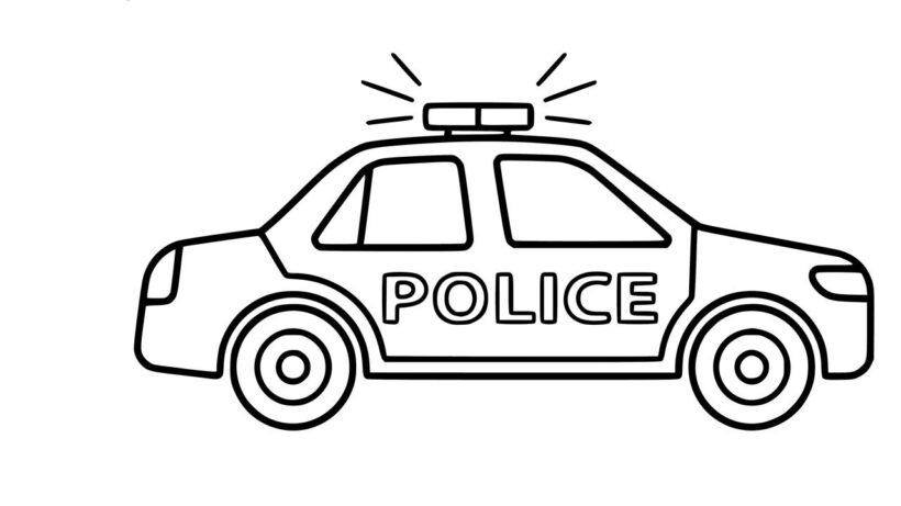 Tranh vẽ chưa tô màu xe cảnh sát cho bé tập tô (8)