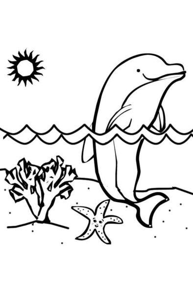 Tranh vẽ đen trắng cá heo đẹp nhất cho bé tô màu (1)