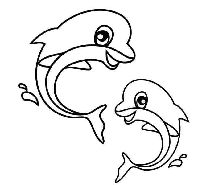 Tranh vẽ đen trắng cá heo đẹp nhất cho bé tô màu (2)
