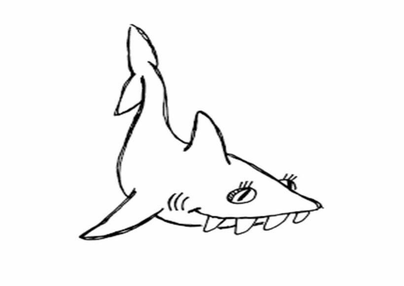 Tranh vẽ đen trắng cá mập cho bé tô màu (2)