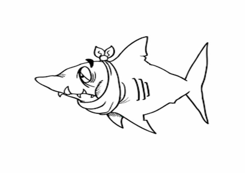 Tranh vẽ đen trắng cá mập cho bé tô màu (3)
