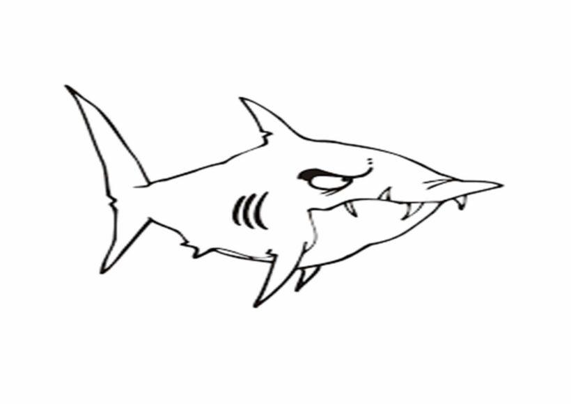 Tranh vẽ đen trắng cá mập cho bé tô màu (4)
