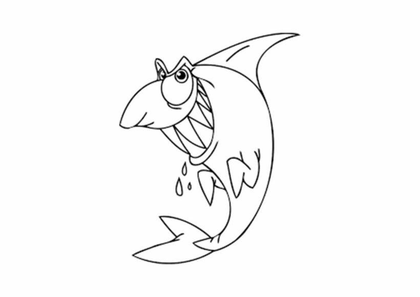 Tranh vẽ đen trắng cá mập cho bé tô màu (5)