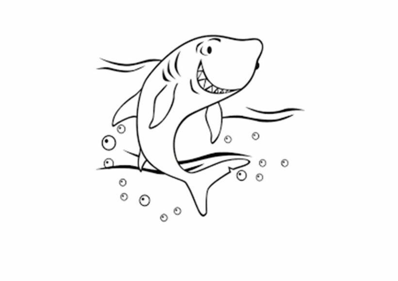 Tranh vẽ đen trắng cá mập cho bé tô màu (6)