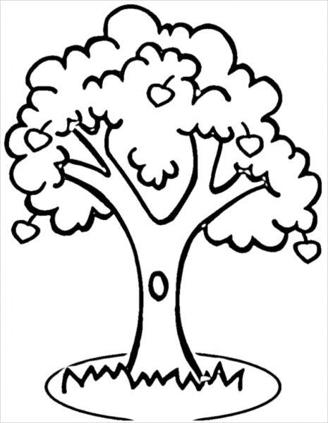 Tranh vẽ đen trắng cây xanh cho bé tô màu (2)
