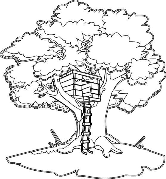 Tranh vẽ đen trắng cây xanh cho bé tô màu (6)