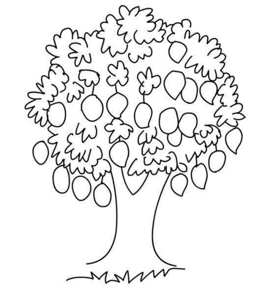 Tranh vẽ đen trắng cây xanh cho bé tô màu (7)