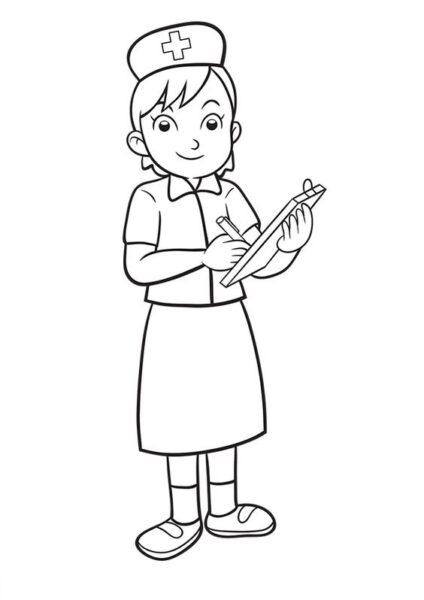 Tranh vẽ đen trắng chủ đề nghề nghiệp cho bé tập tô (1)