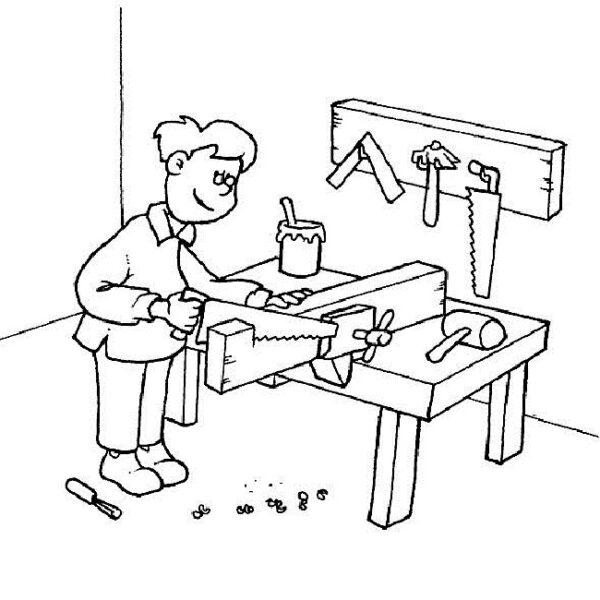 Tranh vẽ đen trắng chủ đề nghề nghiệp cho bé tập tô (7)