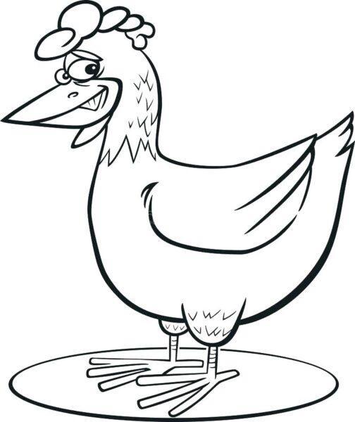Tranh vẽ đen trắng con gà đẹp cho bé tô màu (1)