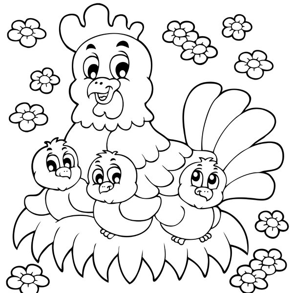 Tranh vẽ đen trắng con gà đẹp cho bé tô màu (6)