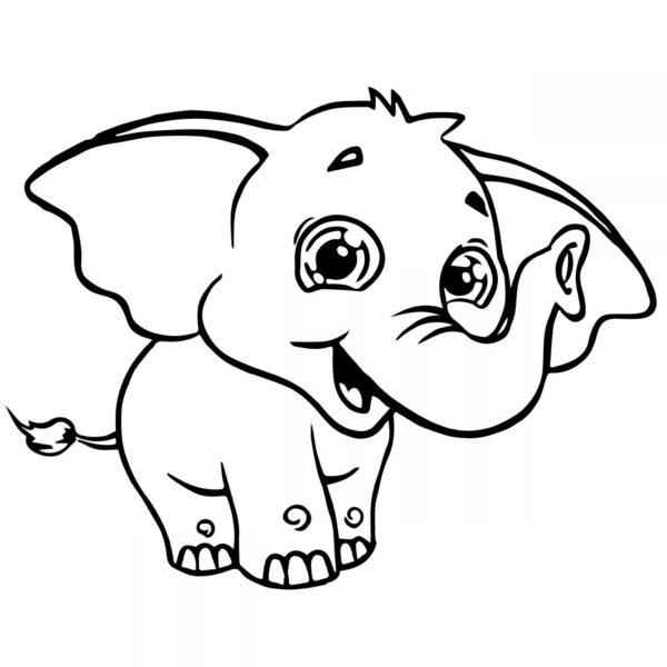 Tranh vẽ đen trắng con voi đáng yêu cho bé tô màu (1)