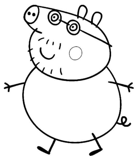 Tranh vẽ đen trắng héo Peppa cho bé tô màu (3)