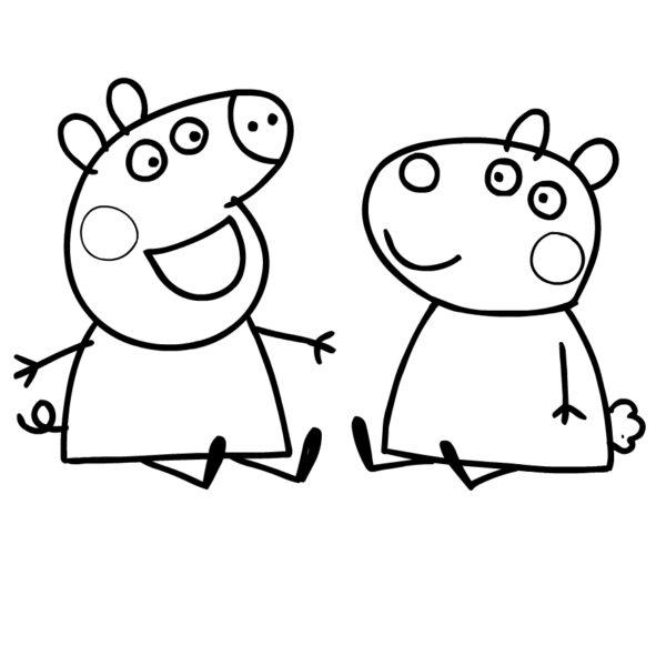 Tranh vẽ đen trắng héo Peppa cho bé tô màu (4)