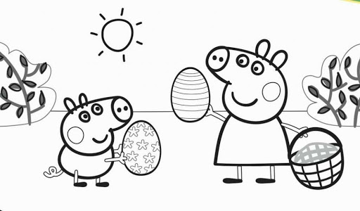 Tranh vẽ đen trắng héo Peppa cho bé tô màu (5)