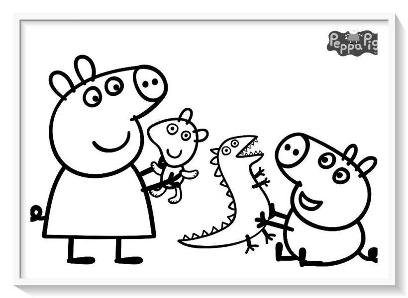 Tranh vẽ đen trắng héo Peppa cho bé tô màu (6)