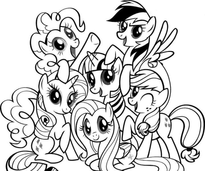 Tranh vẽ đen trắng ngựa Pony cho bé tô màu (1)