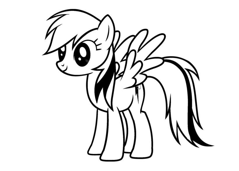 Tranh vẽ đen trắng ngựa Pony cho bé tô màu (4)