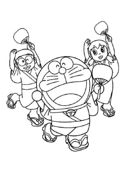 Tranh vẽ đen trắng Nobita cho bé tô màu (1)