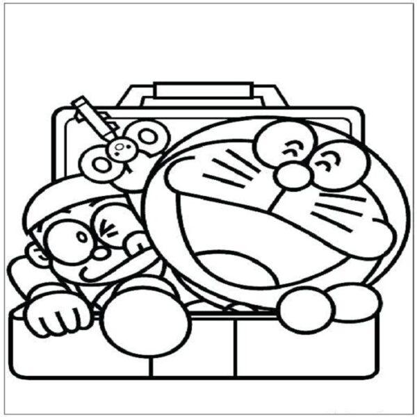 Tranh vẽ đen trắng Nobita cho bé tô màu (2)