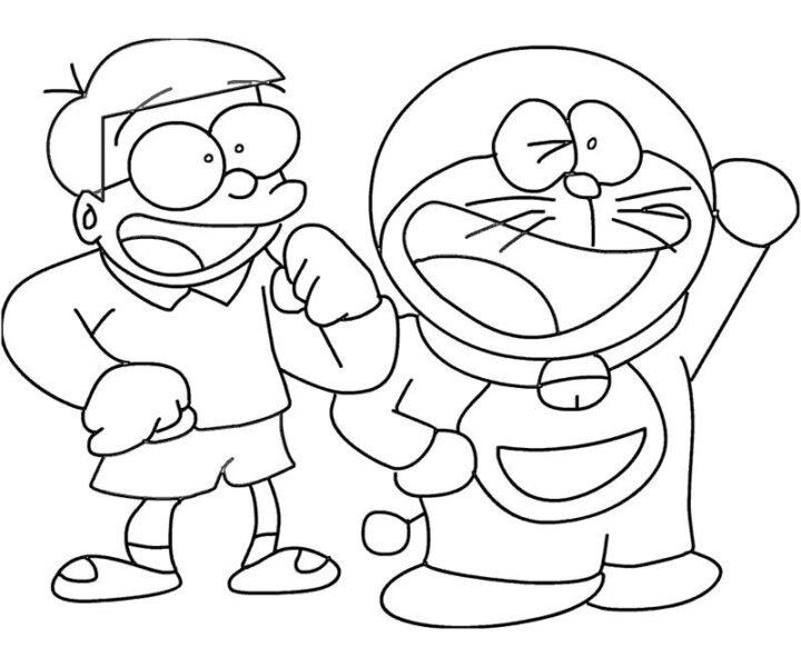 Tranh vẽ đen trắng Nobita cho bé tô màu (4)