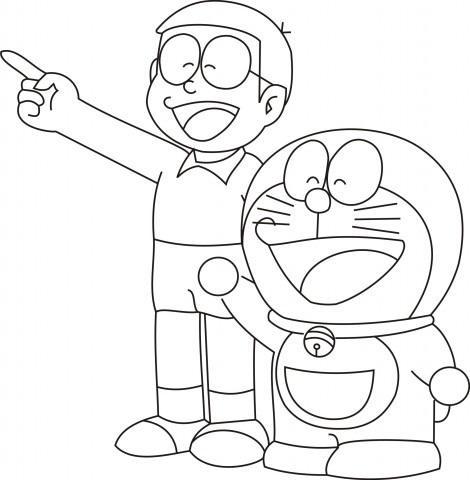 Tranh vẽ đen trắng Nobita cho bé tô màu (5)