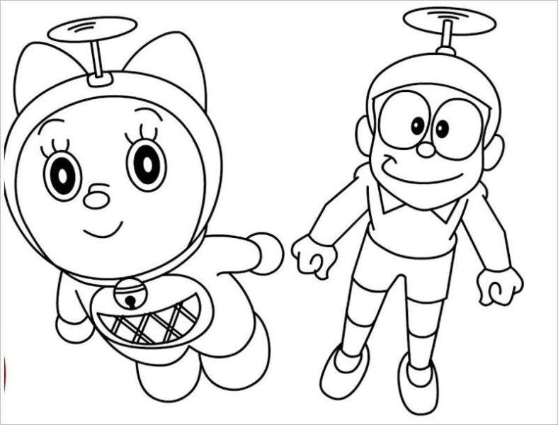 Tranh vẽ đen trắng Nobita cho bé tô màu (6)