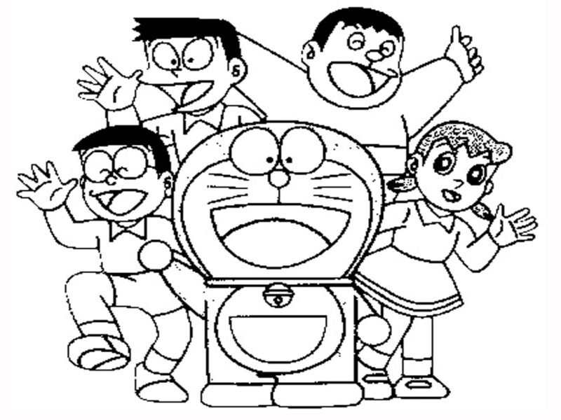 Tranh vẽ đen trắng Nobita cho bé tô màu (8)