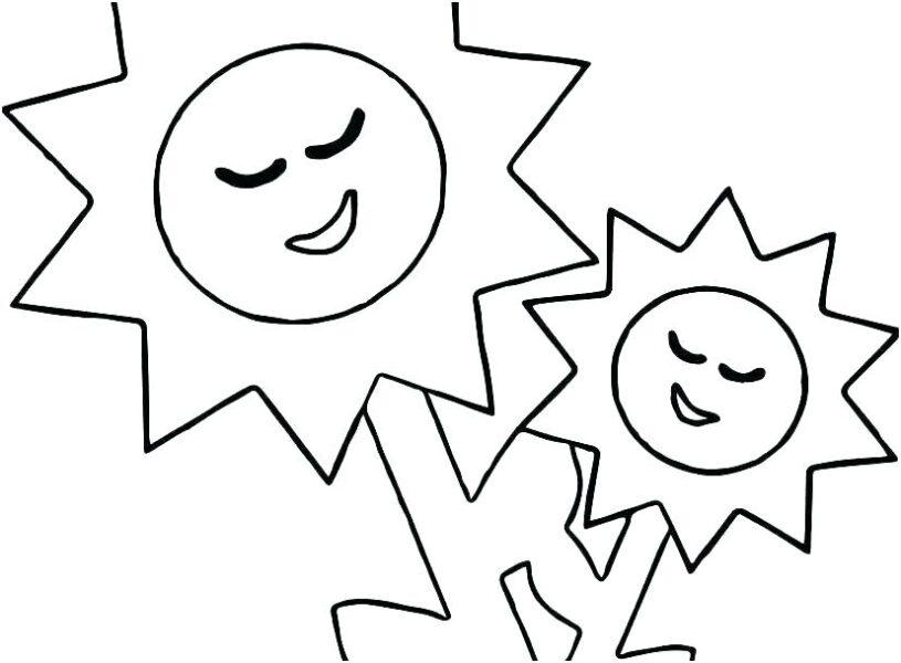 Tranh vẽ đen trắng ông mặt trời ngộ nghĩnh cho bé tô màu (2)